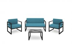Outdoor Lounge Set of 4 Nicea | Dark Grey Frame & Blue