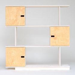 Regal PIX 115 cm 3 Ebenen | Weiß - Eiche geölte Türen