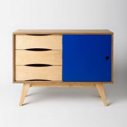 Sideboard SoSixties 1 Tür | Eiche + Dunkelblau