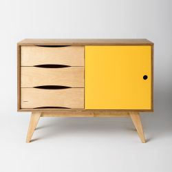 Sideboard SoSixties 1 Door | Oak + Yellow