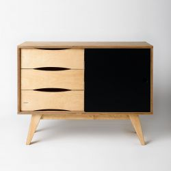 Sideboard SoSixties 1 Door | Oak + Black