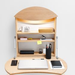 Foldable Wall Desk Radius | Light Wood