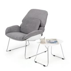 Lounge Chair Petilia + Stool  | Grey