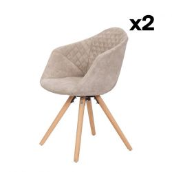 Set of 2 Chairs Luke 222 | White-Cream