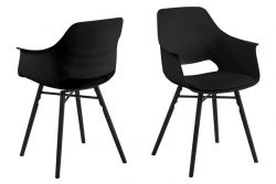 Clive Chair Set of 2 | Black + Black Legs