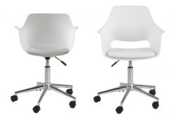 Set of 2 Desk Chairs Mana | White