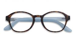 Reading Glasses Circle | Horn/Blue