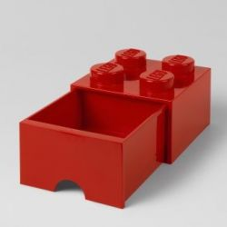 LEGO Brick Drawer 4 Knobs (1 Drawer) | Red