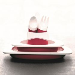Set of Plate, Bowl, Cup & Kids Cutlery | Red