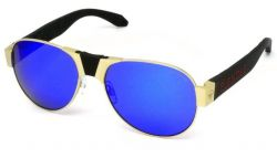 Red Baron Sunglasses | Gold Frame & Blue Lens
