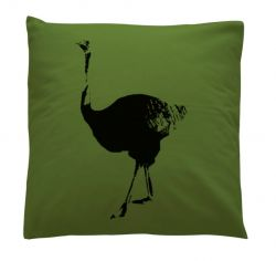 Small Cushion Green Ostrich