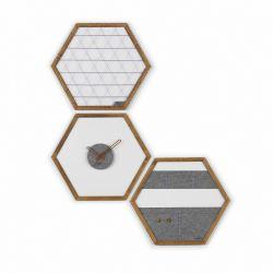 Geometric Organizer Tuva Set of 3 | Wood & Grey & Blue Details