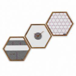 Geometric Organizer Tuva Set of 3 | Wood & Grey & Purple Details