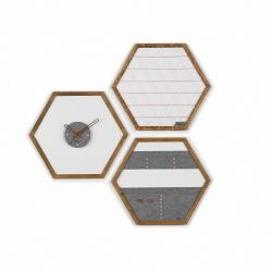 Geometric Organizer Tuva Set of 3 | Wood & Grey & Pink Details