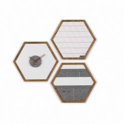 Geometric Organizer Tuva Set of 3 | Wood & Grey & Pink Details