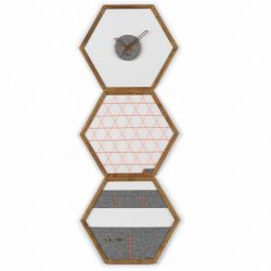 Geometric Organizer Tuva Set of 3 | Wood & Grey & Orange Details