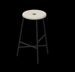 Barhocker Rotor 65 cm Stahl pulverbeschichtet / gepolstert | Beige