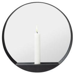 Kerze Mirror Round Glim | Schwarz