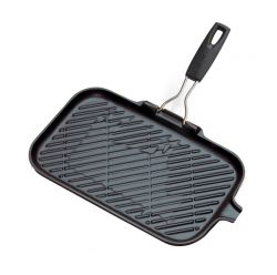 Rectangular Cast Iron Grill Pan with 1 Silicone Handle | Black