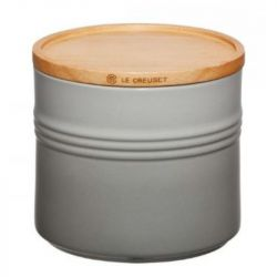 Jar with Wooden Lid | 1.4 L | H 12 cm | Grey