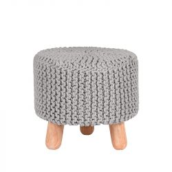 Knitted Stool Kota | Light Grey