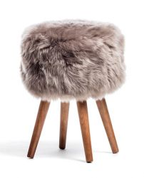 New Zealand Sheepskin Stool | Light Brown