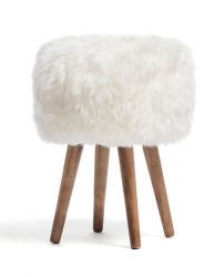New Zealand Sheepskin Stool | White
