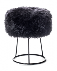 New Zealand Sheepskin Stool Metal | Black