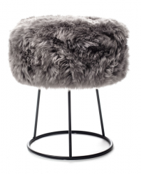 New Zealand Sheepskin Stool Metal | Grey