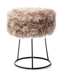 New Zealand Sheepskin Stool Metal | Light Brown