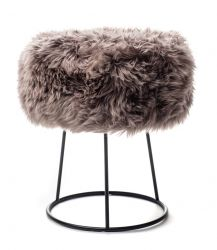 New Zealand Sheepskin Stool Metal | Taupe