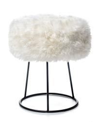 New Zealand Sheepskin Stool Metal | White