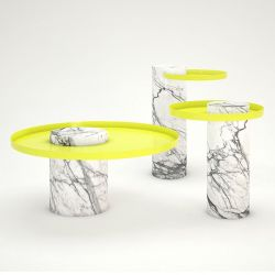 Salute Side Table | Yellow & White Marble