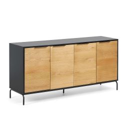 Sideboard Sara 165 x 80 | Black & Light Wood