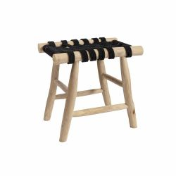 Macrame Stool Cross | Black