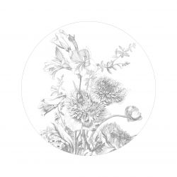 Wandtapete Kreis Engraved Flowers
