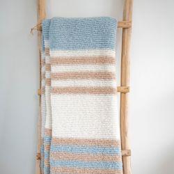 Plaid Carmella 150 x 162 cm | Laine d'Alpaga Blanche et Blue