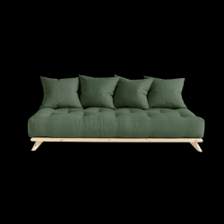 Sofa Senza | Natural Frame + Olive Green Mattress