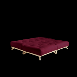 Poef Senza | Frame Naturel + Matras Bordeaux