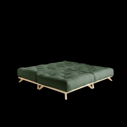 Pouf Senza | Natural Frame + Olive Green Mattress