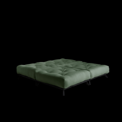 Pouf Senza | Black Frame + Olive Green Mattress