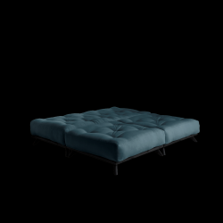Pouf Senza | Black Frame + Petrol Blue Mattress