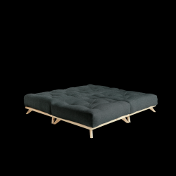 Poef Senza | Frame Naturel + Matras Leisteen Grijs