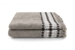 Set of 2 Guest Towels Kendall 30 x 50 cm | Taupe