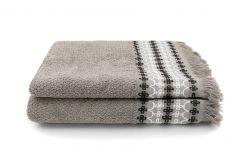 Handdoek Kendall 50 x 100 cm Set van 2 | Taupe