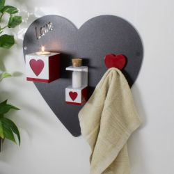 Magnettafel Herz mit Zubehör | Holzkohle