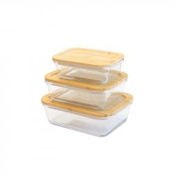 Lebensmittel-Lagerbehälter mit Bambusdeckel | 3er-Set