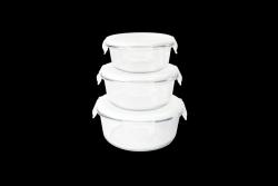 Vorratsbehälter für Lebensmittel rund | 3er-Satz