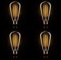 A set of 4 Large Squirrel Cage Filament Light Bulb 40W