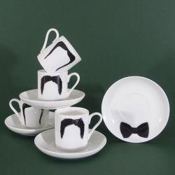 The Fu Manchu & Magnum P.I. Set | Moustache Mug / Moustache Espresso Cup / Saucer
